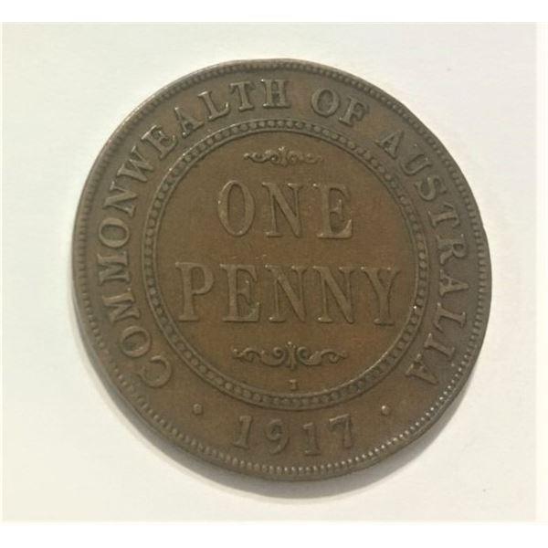 1917 One Penny Australian low mintage 6,240,000