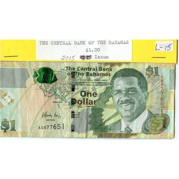 The Bahamas - 2015 $1 banknote - seldom seen