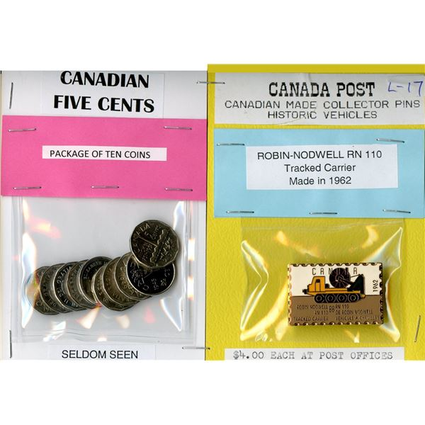 Ten Different seldom seen Canadian Five Cent Coins, and Canada Post Special issue historic vehicles
