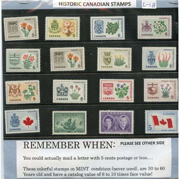 Historic Canadian Stamps - 16 different - Mint Condition   AND package of 100 worldwide stamps