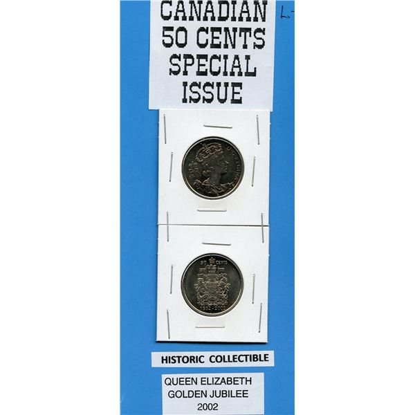 Special Issue Canadian 50 Cents, 2002 Honoring Queen's Golden Jubilee - TWO COINS