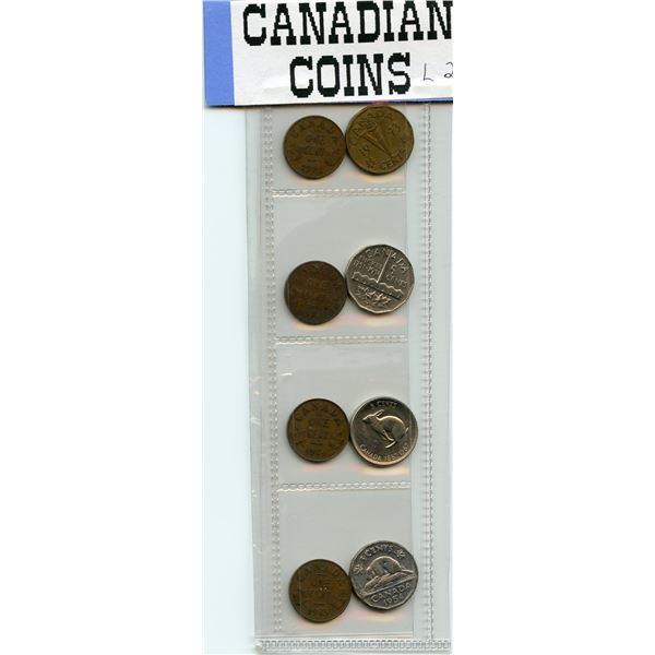 Eight Seldom Seen Canadian Coins - 5 cents 1943, 1951, 1967, 1954, One Cent 1932, 1933, 1934, 1935