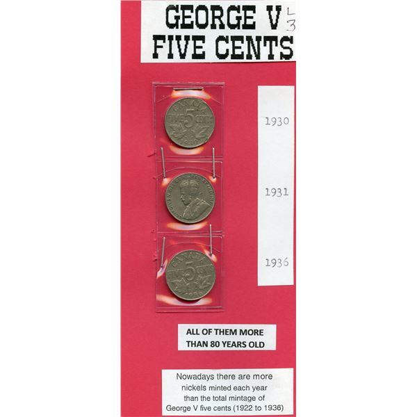 George V   5 Cents 1920, 1931, 1936