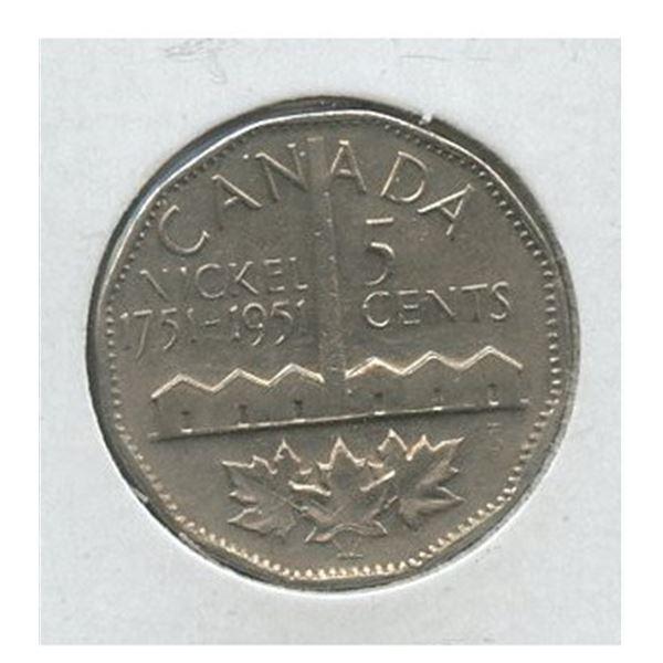 1951 (1751-) Canadian 5-Cent Nickel Isolation Bicentennial Commemorativ