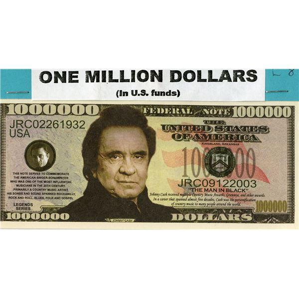 US One Million Dollars - Johnny Cash Novelty Dollar