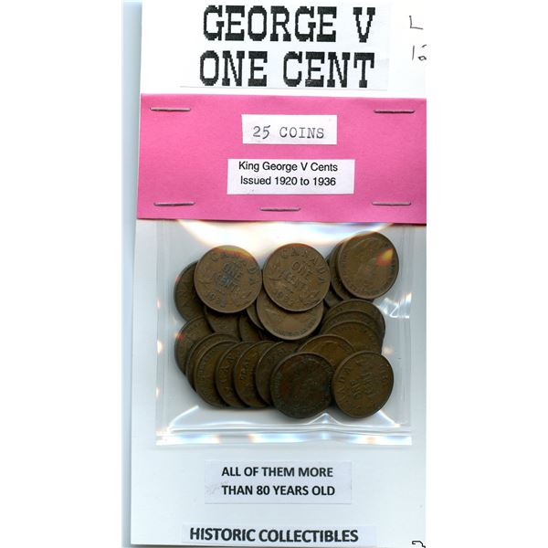 Package of 25 George V One Cent dated 1920 to 1936