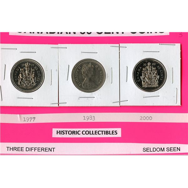 Canadian 50 cent pieces 1977, 1983 and 2000 - seldom seen