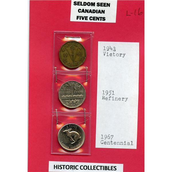 Special Canadian 5 cents, 1943, 1951 and 1967