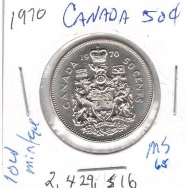 1970  50 Cents low mintage 2,42516 MS65