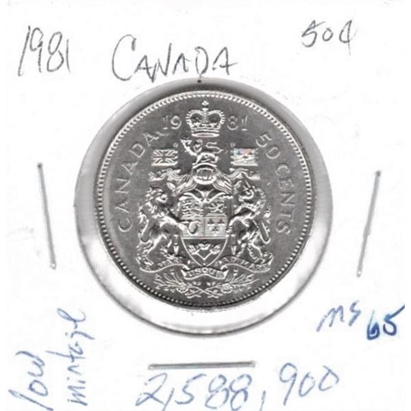1981  50 Cents low mintage 2,588,900 MS65