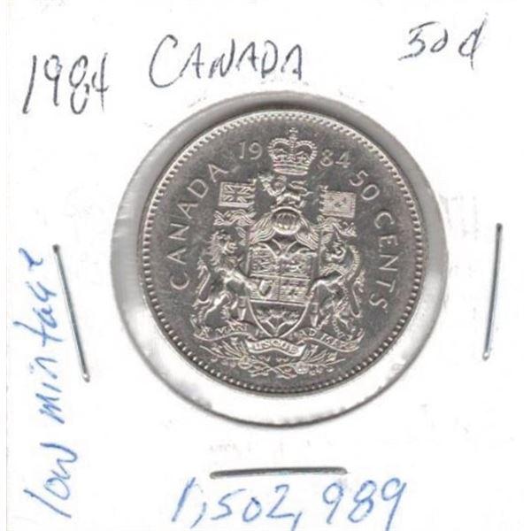 1984  50 Cents low mintage 1,502,989