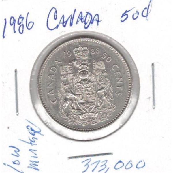 1986  50 Cents low mintage 373,000