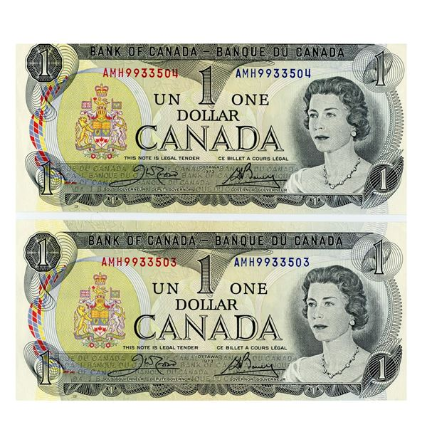 TWO CONSECUTIVE 1973 One Dollar Bills AMH9933503 and  AMH9933504