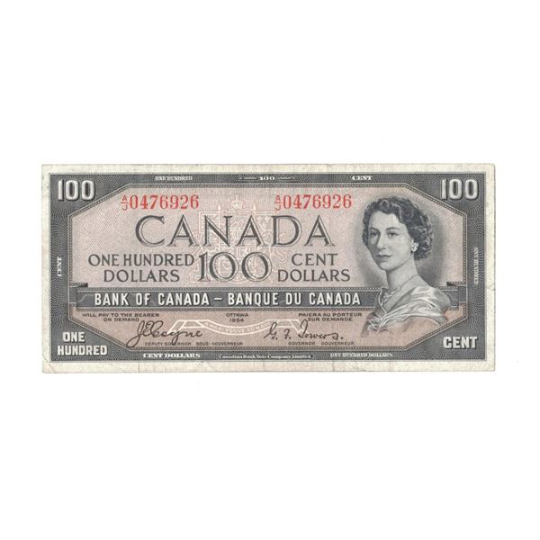 1954 One Hundred Dollar Bill - Coyne/Towers  with Devils Face in Hair A/J0476926