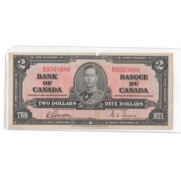 1937 $2 Gordon/Towers WB9563086  EF  Small Cut Out