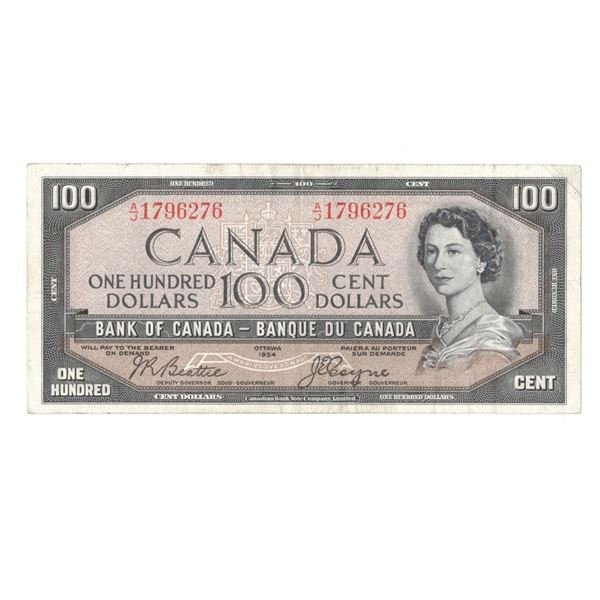 1954 One Hundred Dollar Bill - Beattie/Coyne Devils Face in Hair A/J1796276