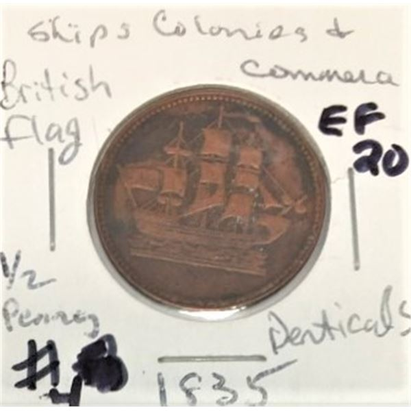 1835  Ships Colonies and Commerce Token