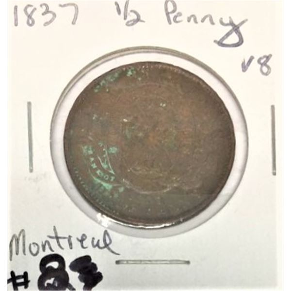1837 Quebec Half Penny