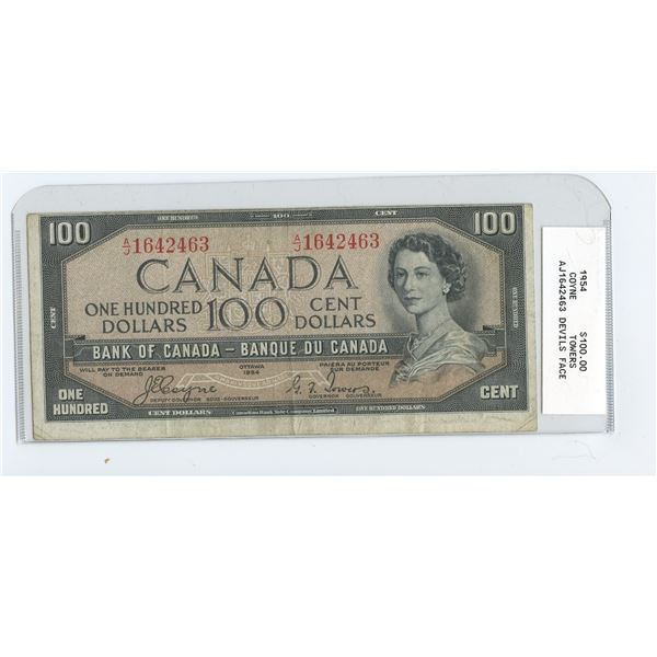1954 One Hundred Dollar Bill - Coyne/Towers  with Devils Face in Hair AJ1642463  MISCUT