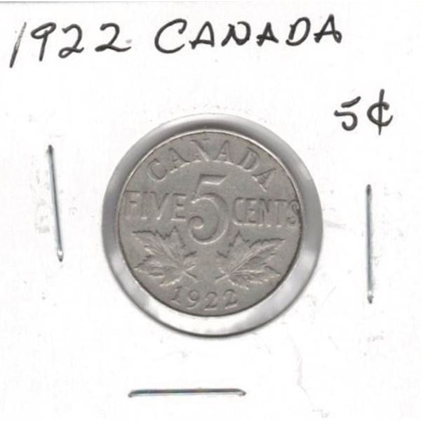 1922 Canadian 5 Cents