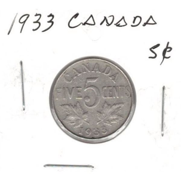 1933 Canadian 5 Cents