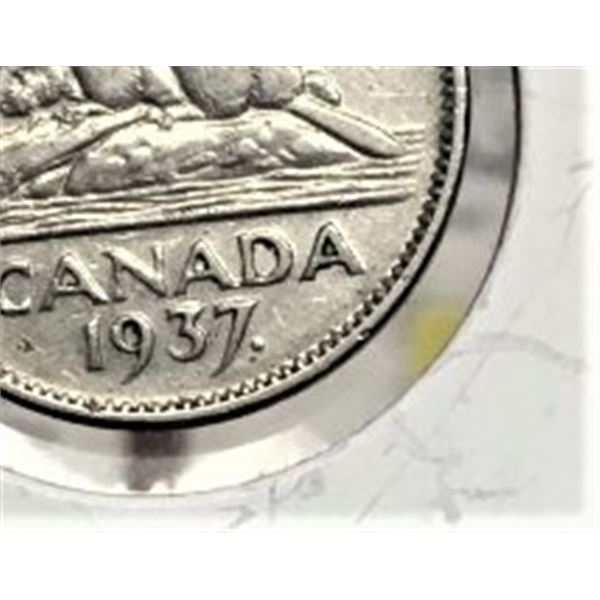 1937 Dot Canadian 5 Cents