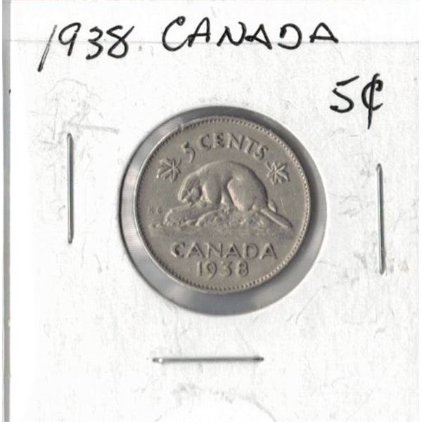 1938 Canadian 5 Cents