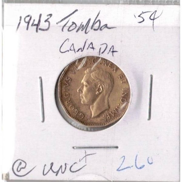 1943 Canadian 5 CentsTOMBAC