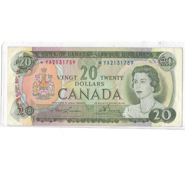 1969 $20 Bill *YA2131750 LawsonBouey Replacement Bill