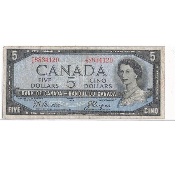 1954 $5 Bill TC8834120 Beattie / Coyne