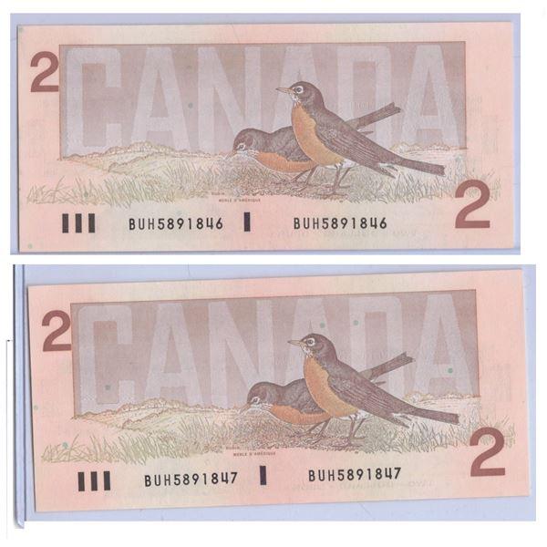 Consecutive 1986 Two Dollar Canadian Bills BUH5891846 and BUH5891847