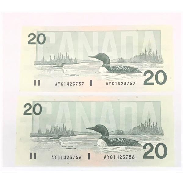 Consecutive 1991 TWENTY Dollar Canadian Bills AYG1423756 and AYG1423757
