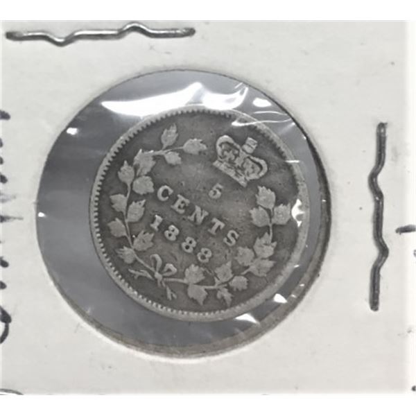 1888 Canadian 5 Cents