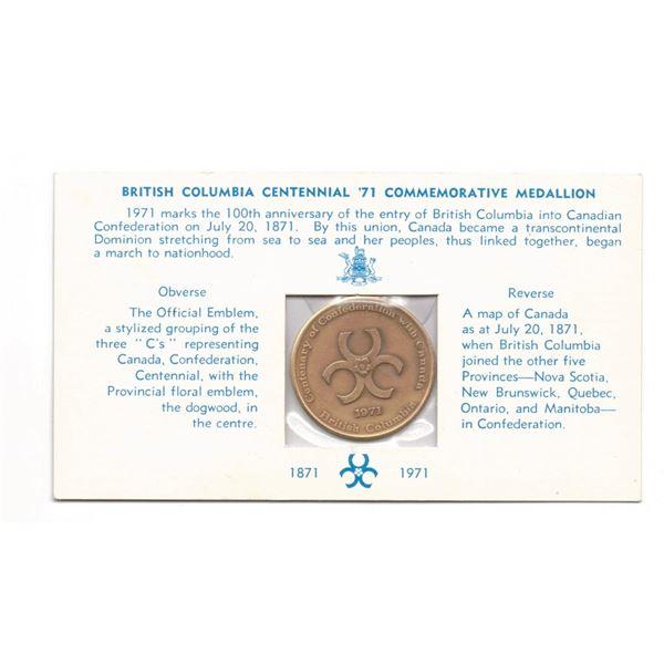 1971- British Columbia Centennial Confederation Medallion  IN ORIGINAL PACKAGING