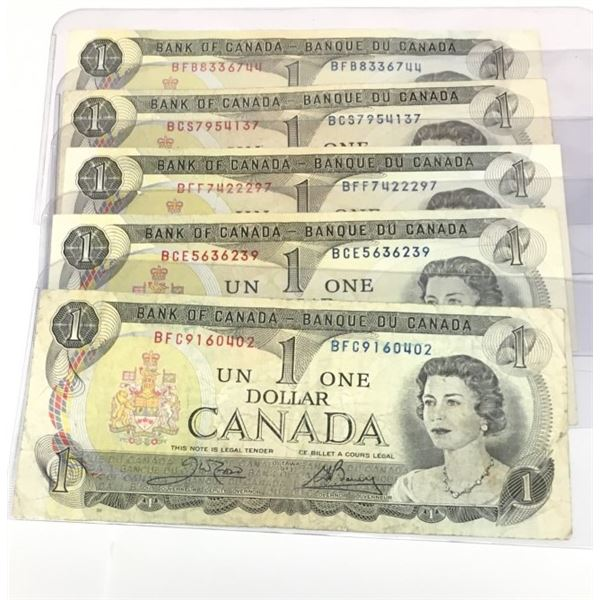 FIVE 1973 Canadian One Dollar Bills