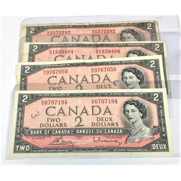FOUR 1954 Canadian Two Dollar Bills