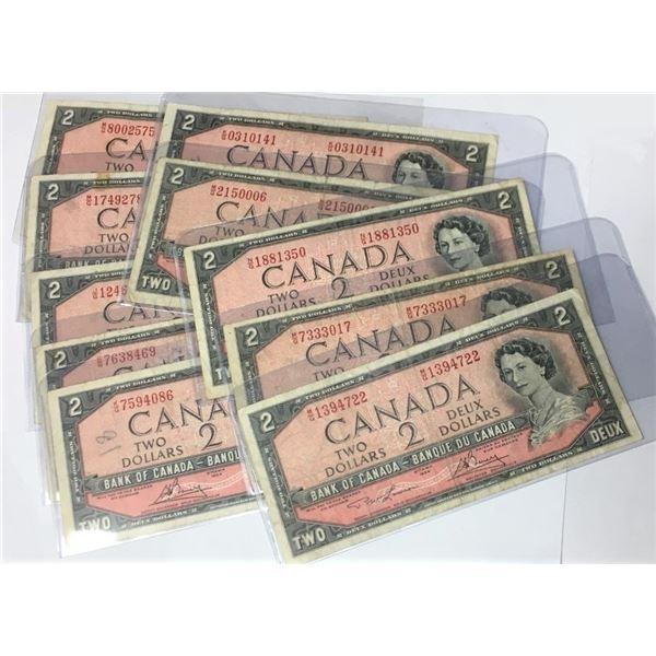 TEN 1954 Canadian Two Dollar Bills