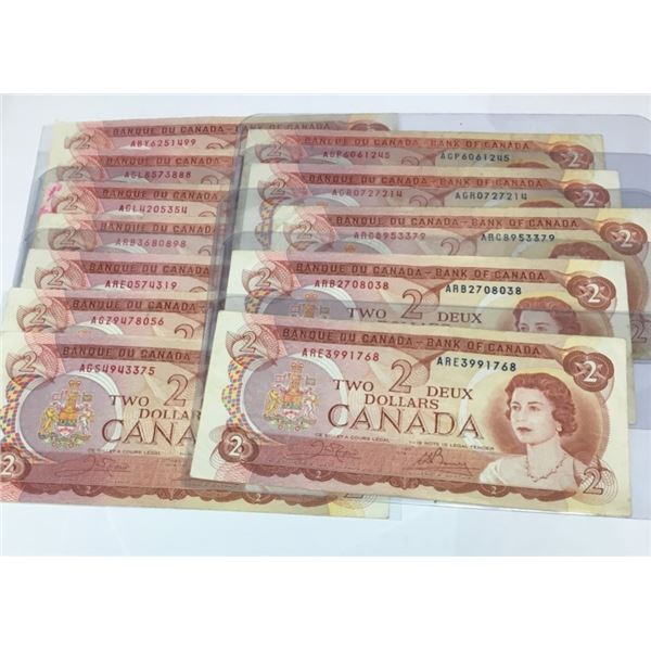 TWELVE 1974 Canadian Two Dollar Bills