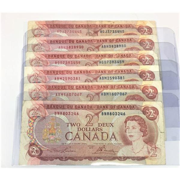 SIX 1974 Canadian Two Dollar Bills