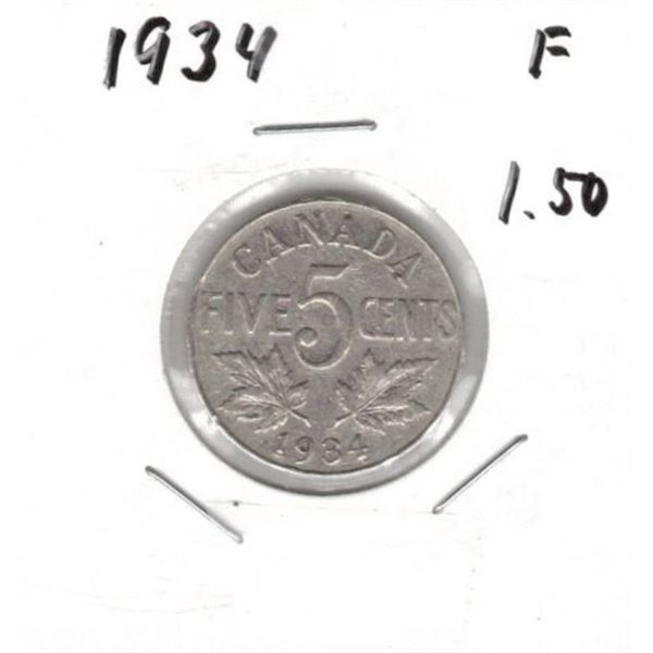 1934 Canada Five Cent F