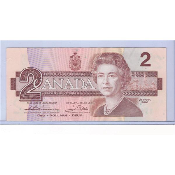 1986 Canadian Two Dollar Bill BRZ7708236
