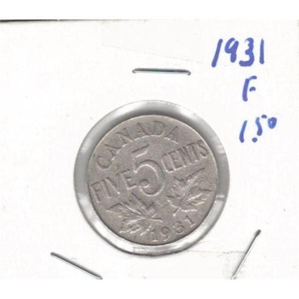 1931 Canada Five Cent  F