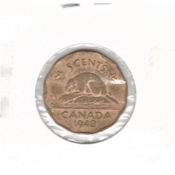 1942 Canada Five Cents Tombac