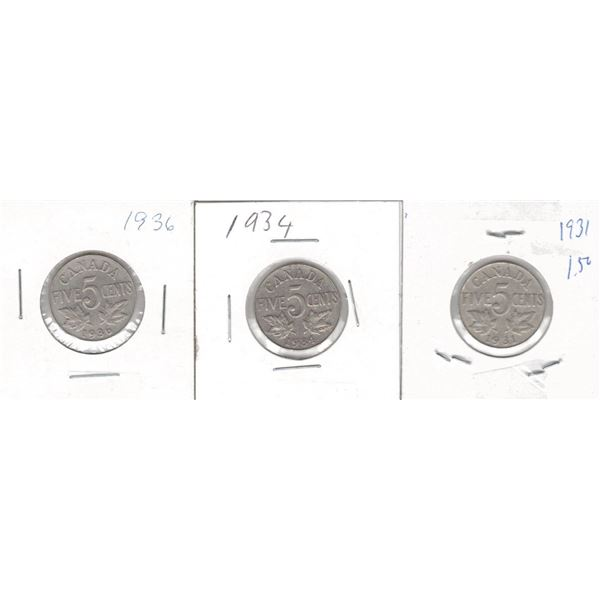 Canadian 5 cents 1931, 1934 and 1936