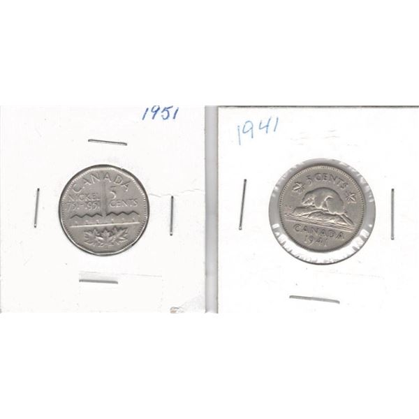 Canadian 5 cents 1941 and 1951 Isolation Bicentennial