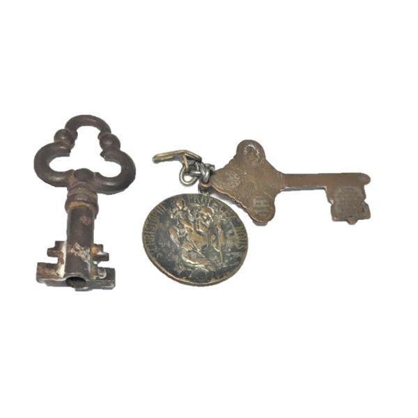 St. Christopher Coin/Medal and Two Skeleton Keys (VINTAGE)
