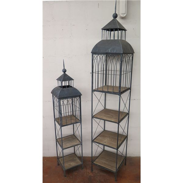 "Qty 2 Very Tall Metal 'Birdcage Motif' Shelving Units 57"" Tall & 81"" Tall"