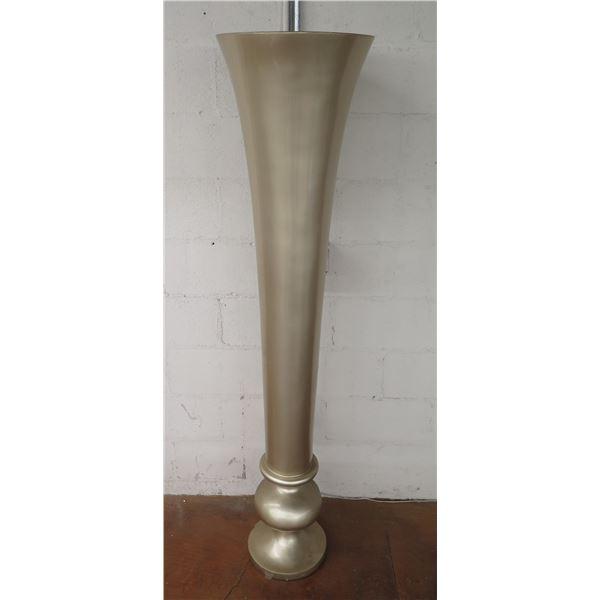 """Silver Colored Stemmed Vase Planter w/ Round Pedestal Base 69""""H"""