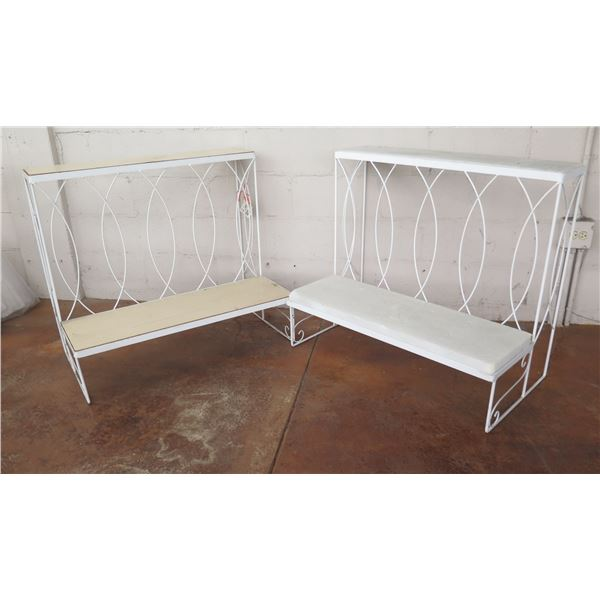 """Qty 2 White Bench Style Metal 2-Tier Display Stand 32"""" x 20"""" x 32""""H"""