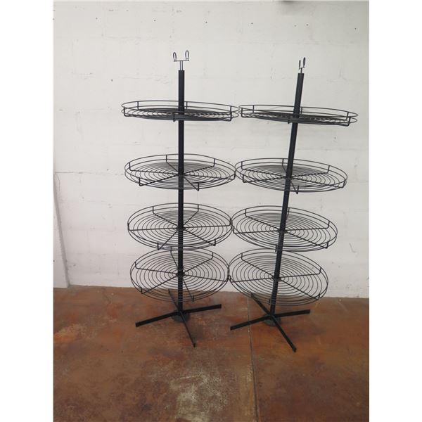 """Qty 2 Black Metal 4-Tier Round Spinner Display Stand 64"""" Tall"""